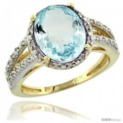 14k Yellow Gold Diamond Halo Aquamarine Ring 3 Carat Oval Shape 11X9 mm, 7/16 in (11mm) wide