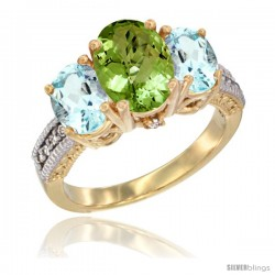14K Yellow Gold Ladies 3-Stone Oval Natural Peridot Ring with Aquamarine Sides Diamond Accent