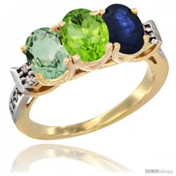 10K Yellow Gold Natural Green Amethyst, Peridot & Blue Sapphire Ring 3-Stone Oval 7x5 mm Diamond Accent