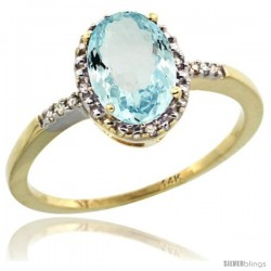 14k Yellow Gold Diamond Aquamarine Ring 1.17 ct Oval Stone 8x6 mm, 3/8 in wide