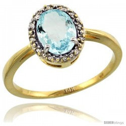 14k Yellow Gold Diamond Halo Aquamarine Ring 1.2 ct Oval Stone 8x6 mm, 1/2 in wide