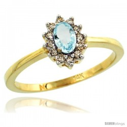 14k Yellow Gold Diamond Halo Aquamarine Ring 0.25 ct Oval Stone 5x3 mm, 5/16 in wide