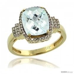 14k Yellow Gold Diamond Halo Aquamarine Ring 2.4 ct Cushion Cut 9x7 mm, 1/2 in wide