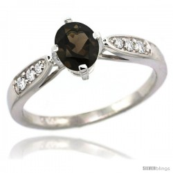 14k White Gold Natural Smoky Topaz Ring 7x5 Oval Shape Diamond Accent, 5/16inch wide