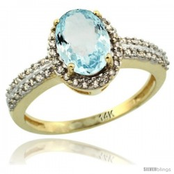 14k Yellow Gold Diamond Halo Aquamarine Ring 1.2 ct Oval Stone 8x6 mm, 3/8 in wide