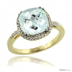 14k Yellow Gold Diamond Aquamarine Ring 3.05 ct Cushion Cut 9x9 mm, 1/2 in wide
