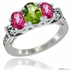 14K White Gold Natural Peridot & Pink Topaz Ring 3-Stone Oval with Diamond Accent
