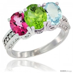 14K White Gold Natural Pink Topaz, Peridot & Aquamarine Ring 3-Stone 7x5 mm Oval Diamond Accent