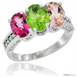 14K White Gold Natural Pink Topaz, Peridot & Morganite Ring 3-Stone 7x5 mm Oval Diamond Accent