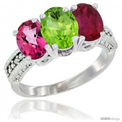 14K White Gold Natural Pink Topaz, Peridot & Ruby Ring 3-Stone 7x5 mm Oval Diamond Accent