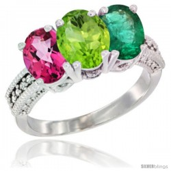 14K White Gold Natural Pink Topaz, Peridot & Emerald Ring 3-Stone 7x5 mm Oval Diamond Accent