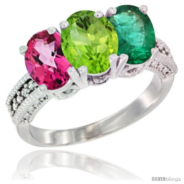 https://www.silverblings.com/51749-thickbox_default/14k-white-gold-natural-pink-topaz-peridot-emerald-ring-3-stone-7x5-mm-oval-diamond-accent.jpg
