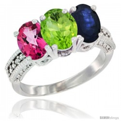 14K White Gold Natural Pink Topaz, Peridot & Blue Sapphire Ring 3-Stone 7x5 mm Oval Diamond Accent
