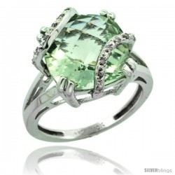10k White Gold Diamond Green Amethyst Ring 7.5 ct Cushion Cut 12 mm Stone, 1/2 in wide