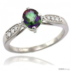 14k White Gold Natural Mystic Topaz Ring 7x5 Oval Shape Diamond Accent, 5/16inch wide