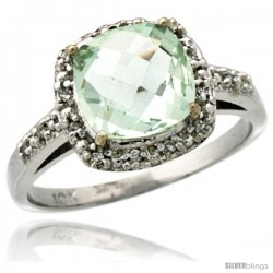 10k White Gold Diamond Green-Amethyst Ring 2.08 ct Cushion cut 8 mm Stone 1/2 in wide