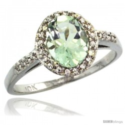 10k White Gold Diamond Green-Amethyst Ring Oval Stone 8x6 mm 1.17 ct 3/8 in wide