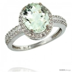 10k White Gold Diamond Green-Amethyst Ring Oval Stone 10x8 mm 2.4 ct 1/2 in wide