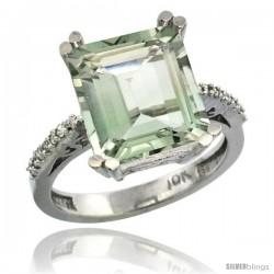 10k White Gold Diamond Green-Amethyst Ring 5.83 ct Emerald Shape 12x10 Stone 1/2 in wide