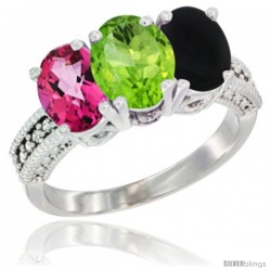 14K White Gold Natural Pink Topaz, Peridot & Black Onyx Ring 3-Stone 7x5 mm Oval Diamond Accent