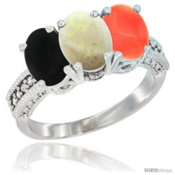 14K White Gold Natural Black Onyx, Opal & Coral Ring 3-Stone 7x5 mm Oval Diamond Accent