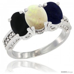 14K White Gold Natural Black Onyx, Opal & Lapis Ring 3-Stone 7x5 mm Oval Diamond Accent