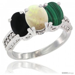 14K White Gold Natural Black Onyx, Opal & Malachite Ring 3-Stone 7x5 mm Oval Diamond Accent