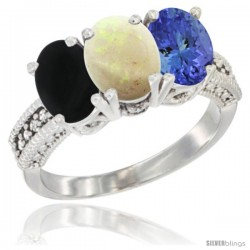 14K White Gold Natural Black Onyx, Opal & Tanzanite Ring 3-Stone 7x5 mm Oval Diamond Accent