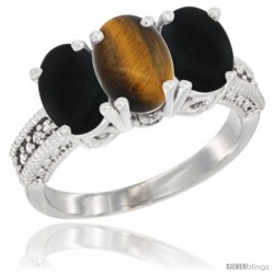 14K White Gold Natural Tiger Eye & Black Onyx Sides Ring 3-Stone 7x5 mm Oval Diamond Accent