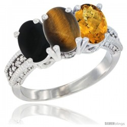 14K White Gold Natural Black Onyx, Tiger Eye & Whisky Quartz Ring 3-Stone 7x5 mm Oval Diamond Accent