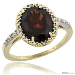 10k Yellow Gold Diamond Garnet Ring 2.4 ct Oval Stone 10x8 mm, 1/2 in wide -Style Cy910111
