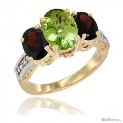 10K Yellow Gold Ladies 3-Stone Oval Natural Peridot Ring with Garnet Sides Diamond Accent