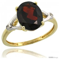 10k Yellow Gold Diamond Garnet Ring 2.4 ct Oval Stone 10x8 mm, 3/8 in wide