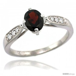 14k White Gold Natural Garnet Ring 7x5 Oval Shape Diamond Accent, 5/16inch wide