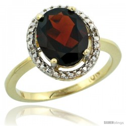 10k Yellow Gold Diamond Garnet Ring 2.4 ct Oval Stone 10x8 mm, 1/2 in wide -Style Cy910114