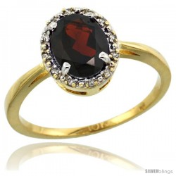 10k Yellow Gold Diamond Halo Garnet Ring 1.2 ct Oval Stone 8x6 mm, 1/2 in wide