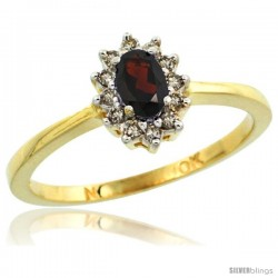 10k Yellow Gold Diamond Halo Garnet Ring 0.25 ct Oval Stone 5x3 mm, 5/16 in wide