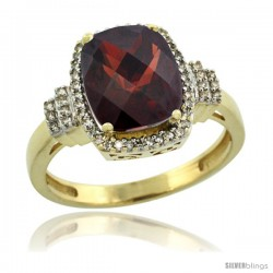 10k Yellow Gold Diamond Halo Garnet Ring 2.4 ct Cushion Cut 9x7 mm, 1/2 in wide