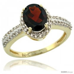 10k Yellow Gold Diamond Halo Garnet Ring 1.2 ct Oval Stone 8x6 mm, 3/8 in wide