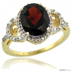 10k Yellow Gold Diamond Halo Garnet Ring 2.4 ct Oval Stone 10x8 mm, 1/2 in wide