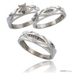Sterling Silver Diamond Trio Wedding Ring Set His 6mm & Hers 5mm Rhodium finish