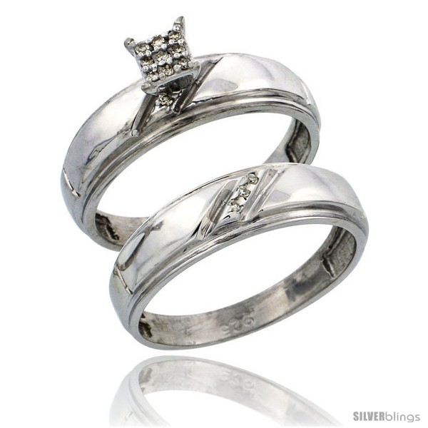 Sterling Silver La s 2 Piece Diamond Engagement Wedding Ring Set Rhodi