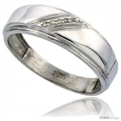 Sterling Silver Men's Diamond Wedding Band Rhodium finish, 1/4 in wide -Style Ag002mb
