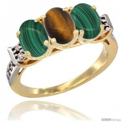 10K Yellow Gold Natural Tiger Eye & Malachite Sides Ring 3-Stone Oval 7x5 mm Diamond Accent