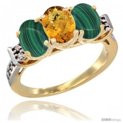 10K Yellow Gold Natural Whisky Quartz & Malachite Sides Ring 3-Stone Oval 7x5 mm Diamond Accent