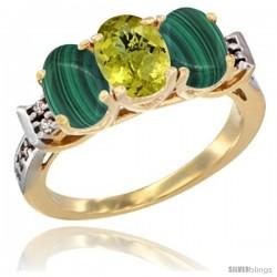 10K Yellow Gold Natural Lemon Quartz & Malachite Sides Ring 3-Stone Oval 7x5 mm Diamond Accent