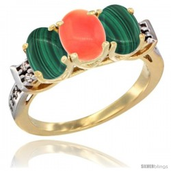 10K Yellow Gold Natural Coral & Malachite Sides Ring 3-Stone Oval 7x5 mm Diamond Accent