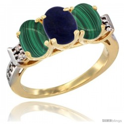 10K Yellow Gold Natural Lapis & Malachite Sides Ring 3-Stone Oval 7x5 mm Diamond Accent