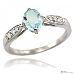 14k White Gold Natural Aquamarine Ring 7x5 Oval Shape Diamond Accent, 5/16inch wide