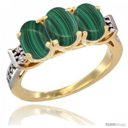 10K Yellow Gold Natural Malachite Ring 3-Stone Oval 7x5 mm Diamond Accent